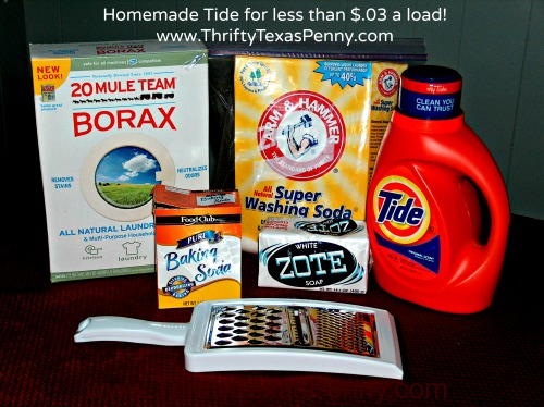 Homemade Tide Laundry Detergent Ingredients  - $.03 per Load!