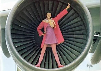 pretty brunette stewardess