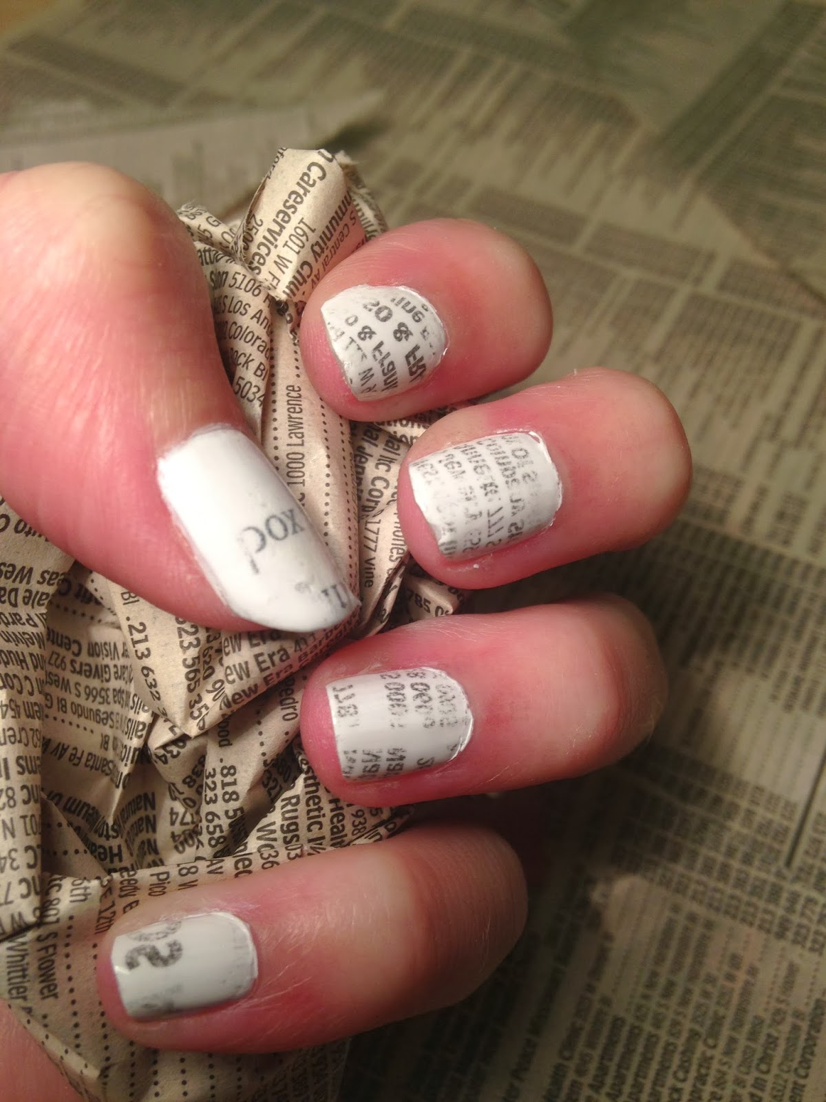 How To, How Hard, and How Much: Newspaper (or book) Nail Art