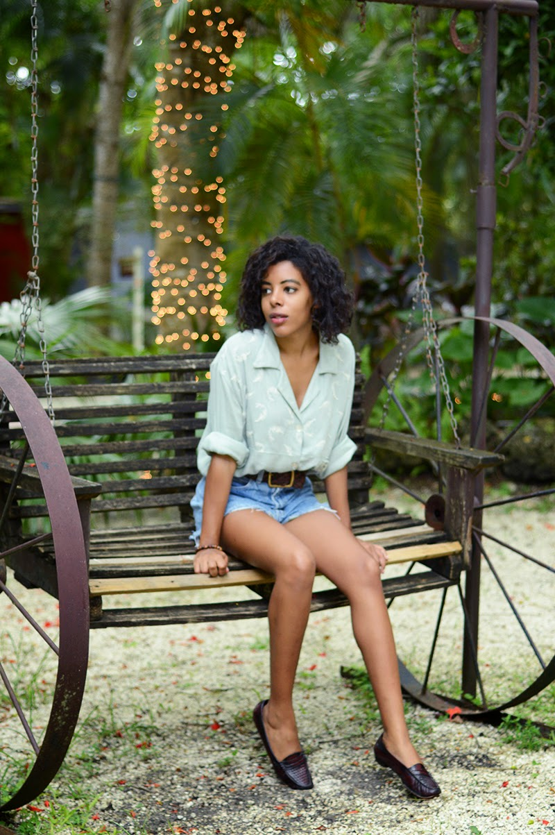 Miami Fashion Blogger Anais Alexandre of Down to Stars in a vintage top, shorts and loafers