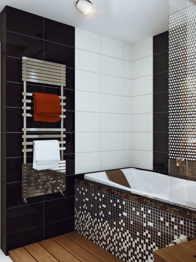 for Black and white small bathrooms