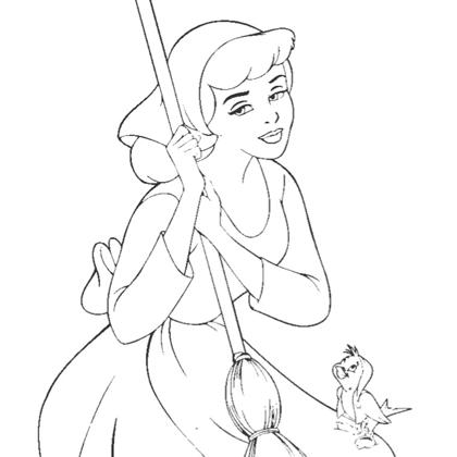 Coloriage princesse cendrillon et ses amis les animaux coloriage princesse disney - Coloriages cendrillon ...