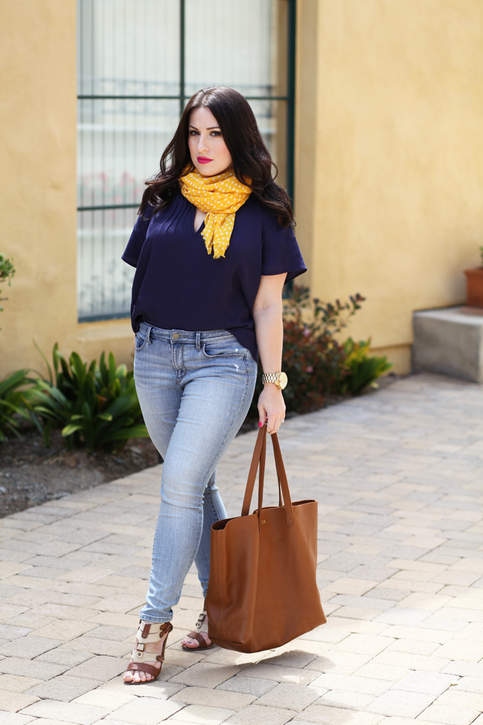 cuyana-tote-fraas-yellow-polka-dot-scarf-le-tote-top-mac-girl-about-town-lipstick-michael-kors-watch-loft-denim-spring-outfit-ideas-king-and-kind