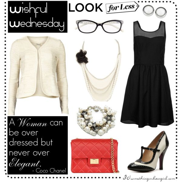 elegant outfit with Chanel inspired clothes, little black dress, shoes, cardigan, bag, jewellery