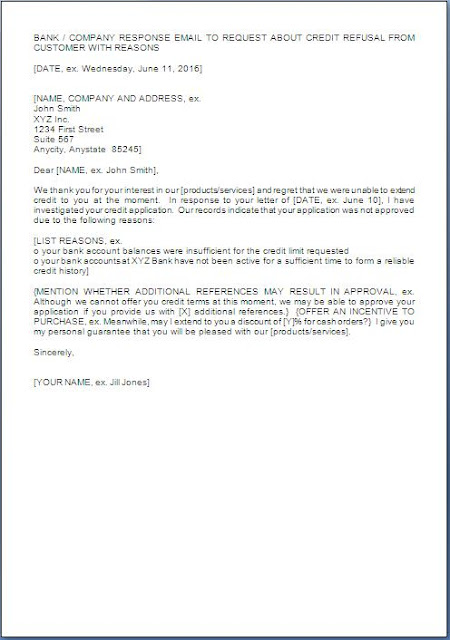 Credit Rejection Letter Sample