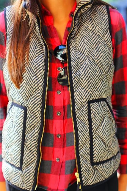 Fabulous outfits tartan sleeve shirt over cute vest jacket