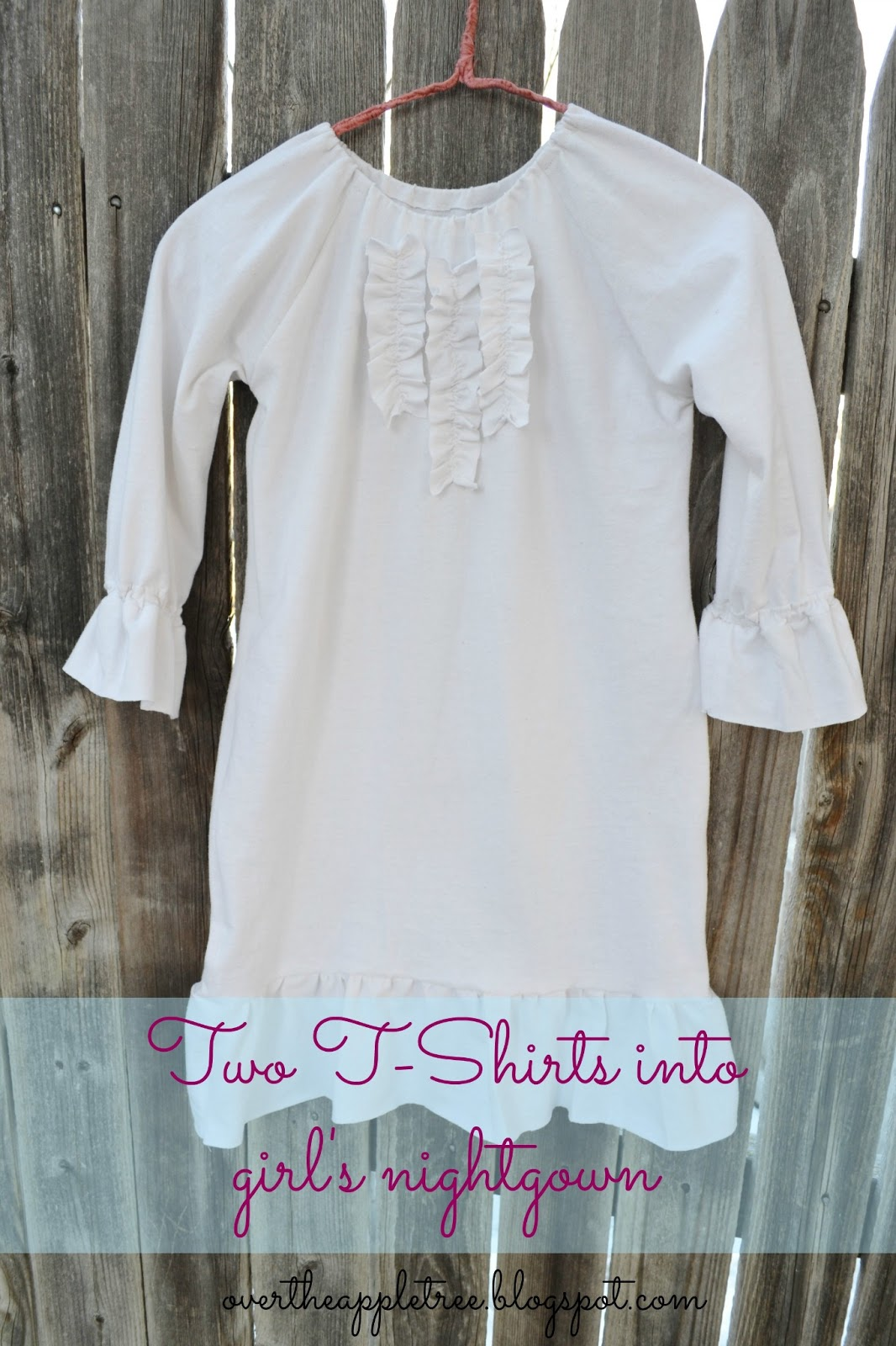 over the apple tree girl 39 s nightgown made from men 39 s t shirts. Black Bedroom Furniture Sets. Home Design Ideas
