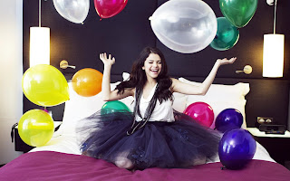 Selena Gomez Very Happy Ballons HD Wallpaper