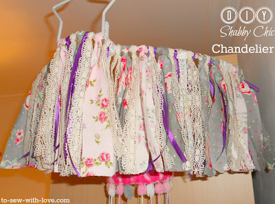 DIY Shabby Chic Candelier from scrap fabrics