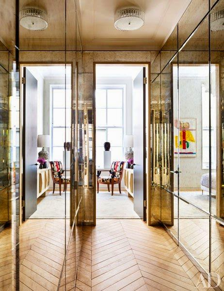 elegant mirrored gold lobby