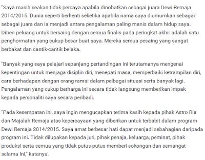 Raysha Rizrose Dewi Remaja 2014/2015