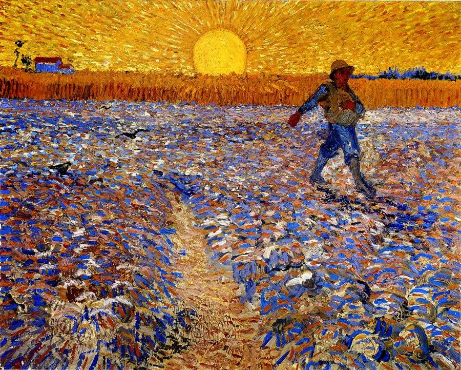 Cuadro Sembrador a la puesta del sol. Van Gogh, 1.888