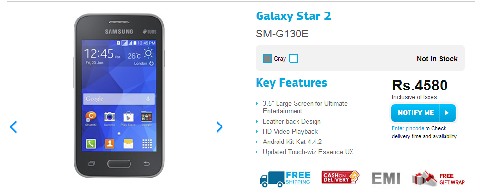 Samsung Galaxy Star 2 Now Listed on Company Site Just For 4,580