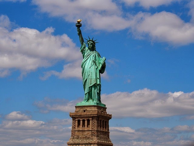 The Statue Of Liberty In The Newyork Bay Liberty Island