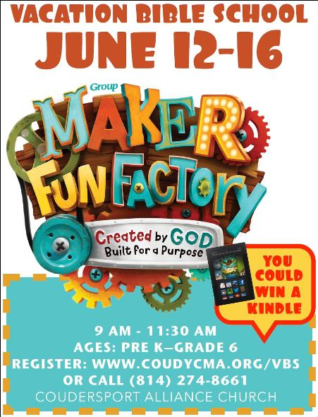 6-12 thru 16 VBS Coudersport Alliance Church