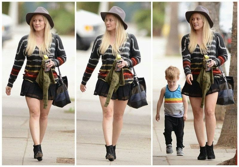 The 27-year-old went with an upretentious art to spend some easy time alongside her son at the street in Los Angeles on Wednesday, January 28, 2015.