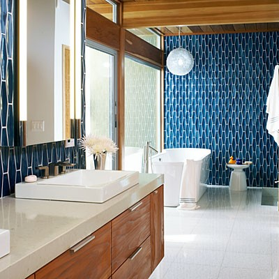 before this master bathroom used to look dark and dingy lets not even talk about that wall to wall carpeting in the bathroom now its light bright - Mid Century Modern Bathroom Remodel