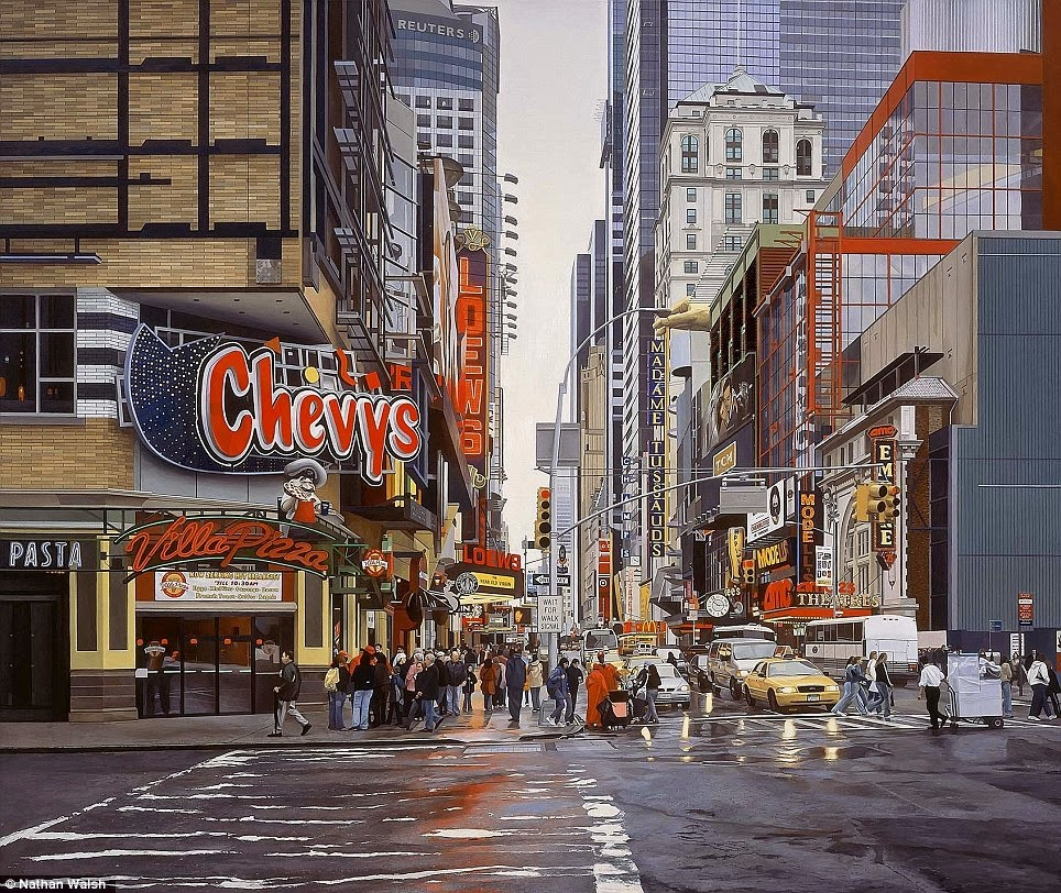 simply creative  realistic urban landscape paintings by nathan walsh