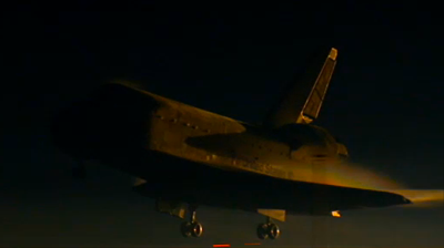 Atlantis – STS135 –Night landing of Atlantis, just before touch down. BBC 2011.