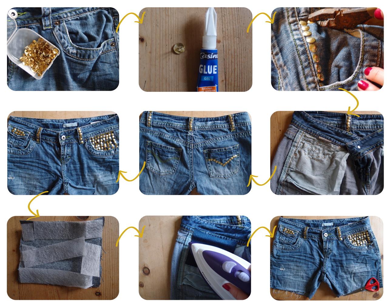 Как сделать шорты из старых джинс с кружевом своими руками