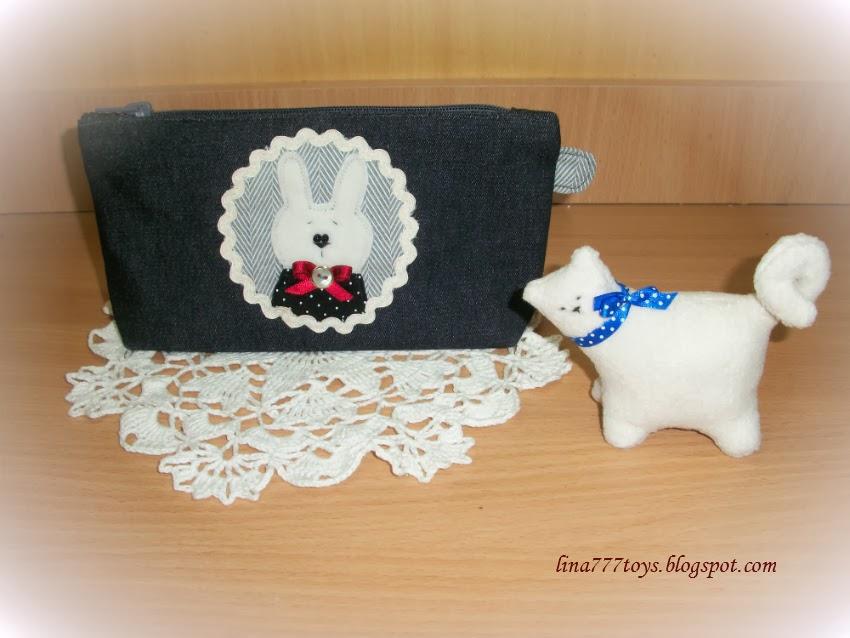 косметичка с зайкой ручная работа  handmade