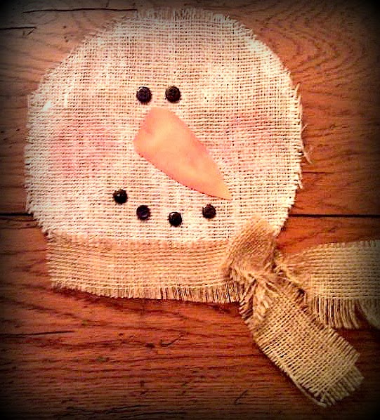 Little paper sprinkles burlap snowman wall hanging for Snowman made out of burlap