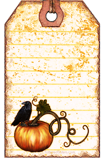 Pumpkin Crow Primitive Hangtag