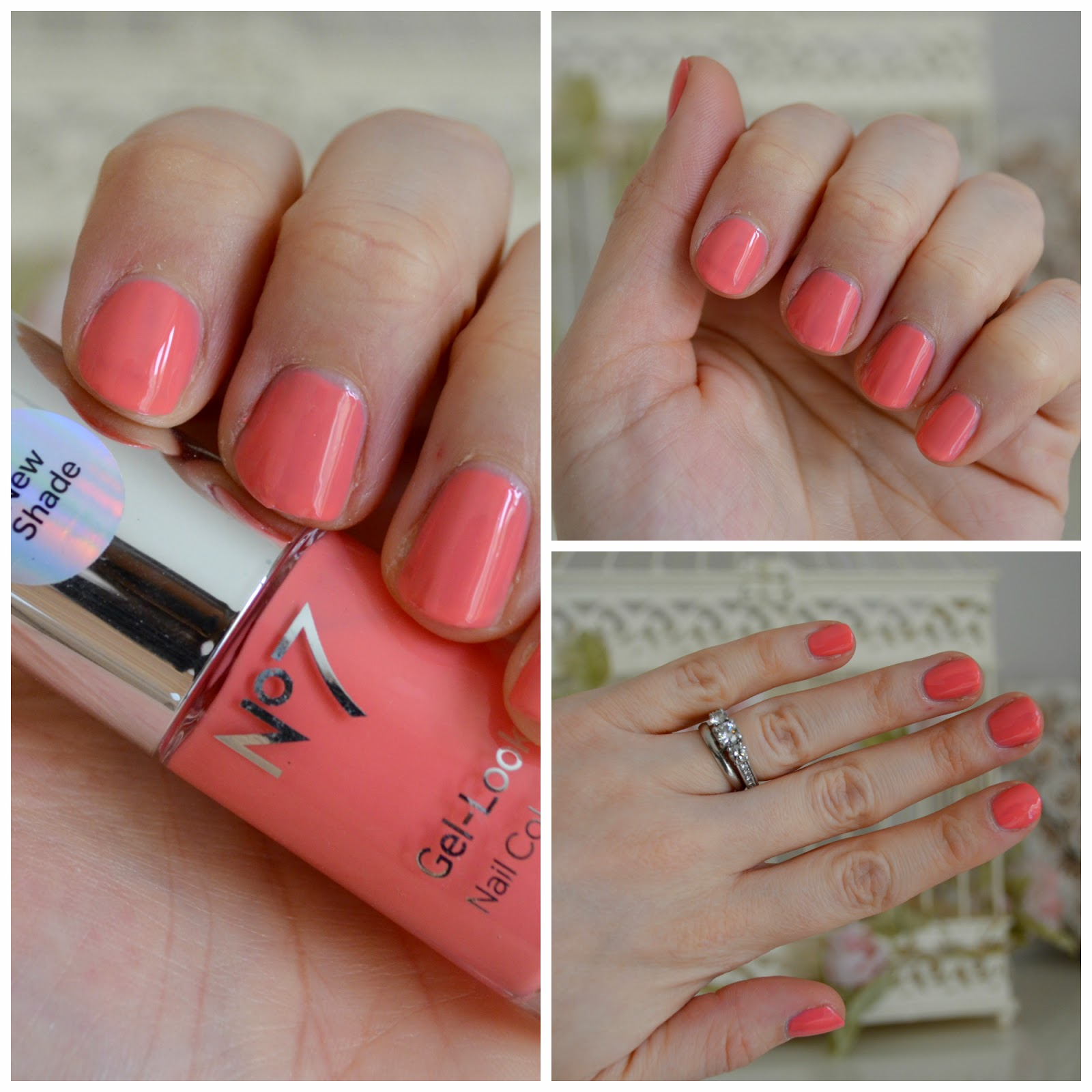 no 7 gel look shine coral crush