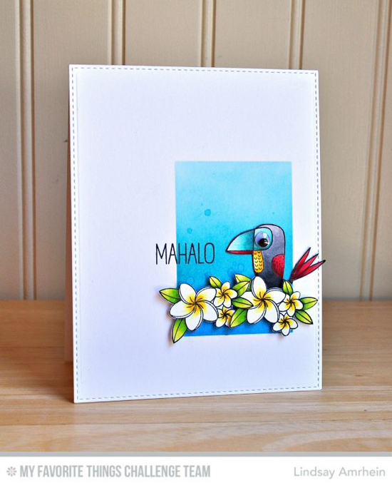 Mahalo Card by Lindsay Amrhein featuring the Birdie Brown Polynesian Paradise stamp set and Die-namics and the Birds of Paradise stamp set and Die-namics #mftstamps