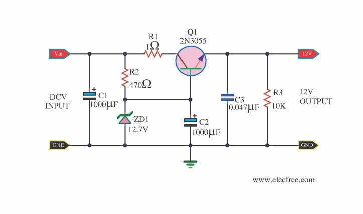 12v linear regulator for transceiver radio making a high current 12v voltage regulator hot resistor 12v regulator diagram at soozxer.org