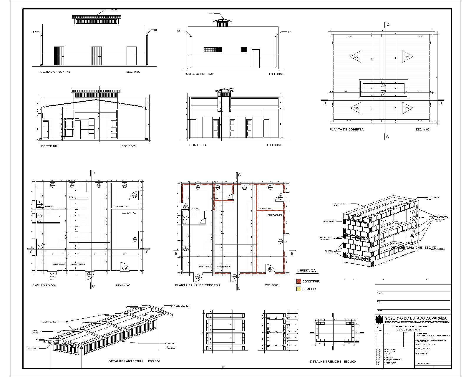 Projeto executivo para albergado em Princesa Isabel cidade no sertão  #A13A2A 1600 1280