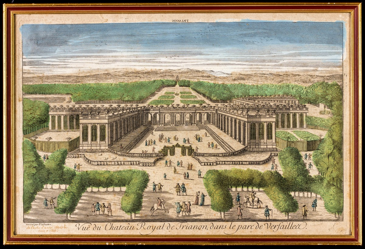 Veduta del castello reale di Trianon, nel parco di Versailles