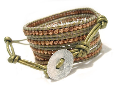 DIY Bracelet: Rose Gold Faceted Nuggets 5 Wrap On Tota Leather (Chan Luu Women's Style)