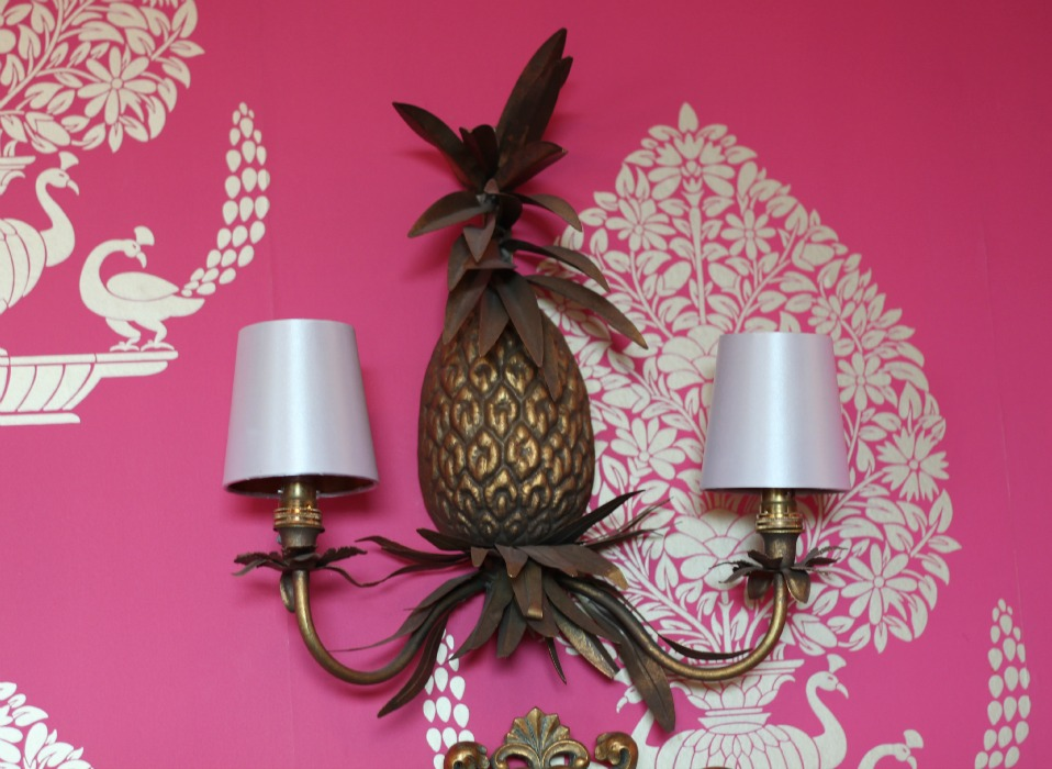 pineapple light fitting, pink wallpaper, Cottonwood Boutique Hotel Bournemouth