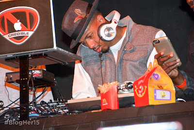 Nick Cannon takes the turntables during #McDBlogHer #BlogHer15  McDonalds Closing Party at BlogHer 2015