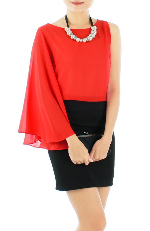 Bell Sleeve Party Blouse with One-sided Sleeve