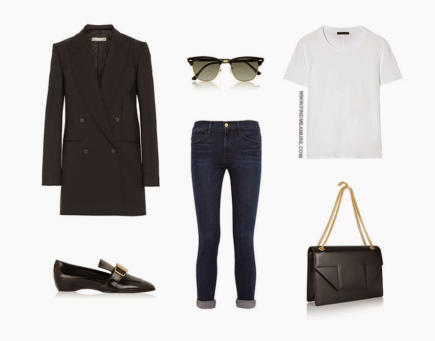 Find Me A Muse trans-seasonal outfit set featuring Michael Kors blazer, Tod's flats, Rayban Clubmaster sunglasses, Frame Denim jeans, The Row t-shirt and Saint Laurent Betty bag
