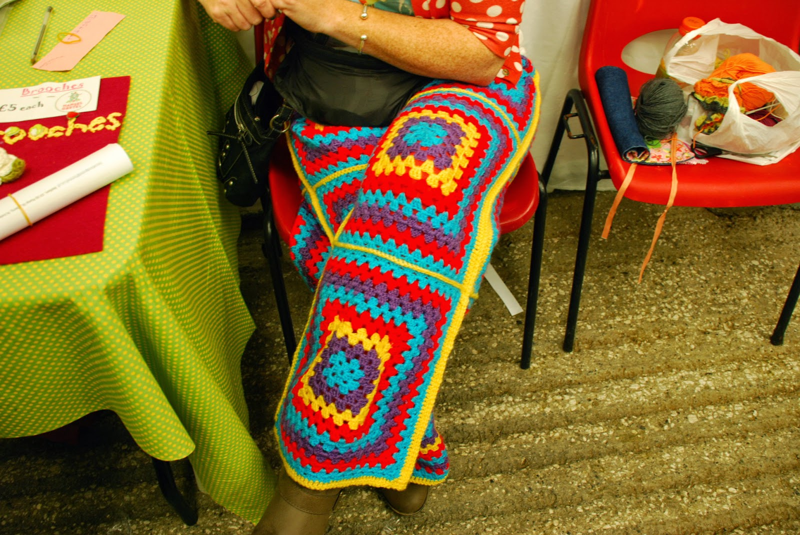 image of crochet trousers