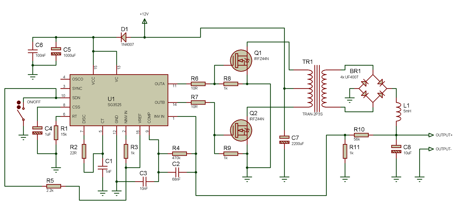 Tahmids Blog Using The Sg3525 Pwm Controller Explanation And Understand Dc Circuit Operation Lets Analyze It See What Ive Done