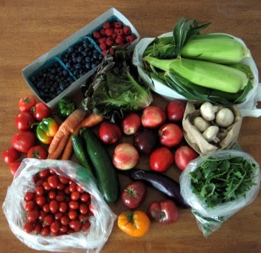 farmer's market fruit and vegetable haul