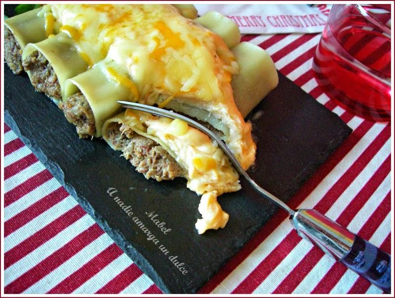 Canelones tr o de carnes con bechamel de boletus 28 - Bechamel con nata para cocinar ...