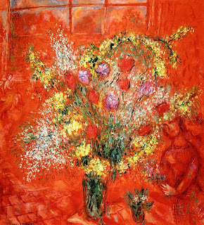 Flowers on a Red Ground by Marc Chagall (1970)