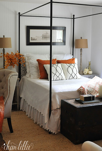 Bedroom decorated for fall from Dear Lillie  || Friday Favorites at www.andersonandgrant.com