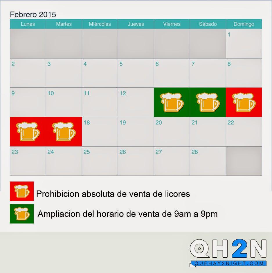 ley seca carnavales 2015 calendario horarios de venta licores alcohol margarita caracas discotecas