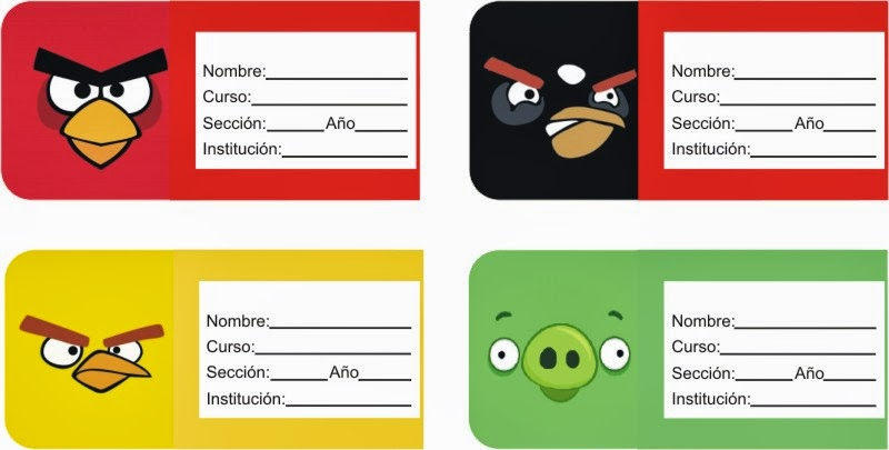 ETIQUETAS PARA CUADERNOS: ETIQUETAS PARA CUADERNOS DE ANGRY BIRDS