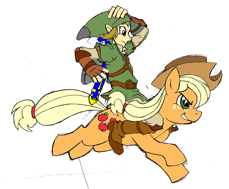 e621 applejack(mlp) crossover equine female feral friendship_is_magic horse link male my_little_pony plain_background...