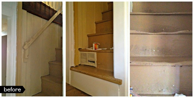 steep staircase before makeover