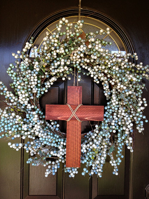 We Have A Square Boxwood Wreath On One Of Our Interior Doors, So I Thought  Iu0027d Do Some Quick, Easy And Free Addition To Tweak It For Easter.