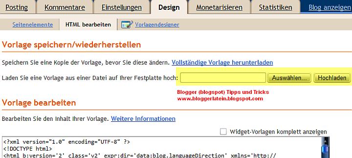 Template Vorlage (neues Design) bei Blogger Blogspot hochladen