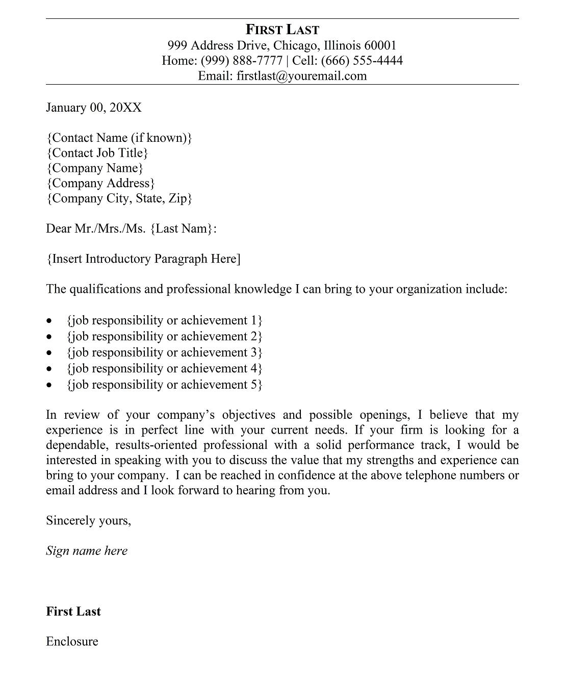 professional cover letter sample - Good Cover Letter Template
